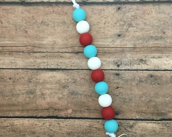 Teething Pacifier Clip - Teal, Red and White
