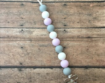 Teething Pacifier Clip - Light Grey, White, Lavender
