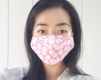 NEW! Pink Flowers Floral Seasonal Face Masks Winter Fall Autumn Christmas Full Coverage Filter Pocket Unique Modern Design Washable Reusable