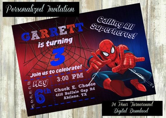 Spiderman Invitation Birthday