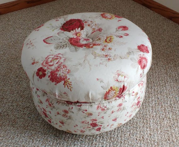 Round Ottoman With Bun Feet Ottoman Footstool Cream And Etsy