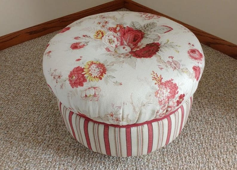 Peachy Round Ottoman With Bun Feet Ottoman Footstool Cream And Wine Floral Rose With Stripes Upholstery Pdpeps Interior Chair Design Pdpepsorg