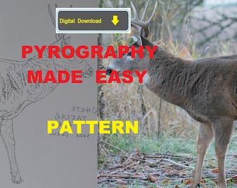White Tailed Deer side view Pyrography Pattern Wood burning pattern digital download