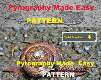 Snail Pyrography Pattern Wood burning pattern digital download