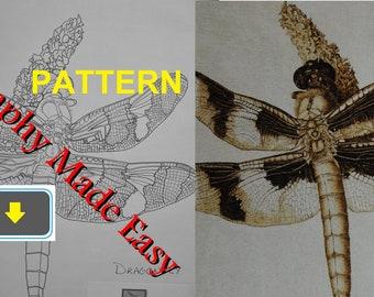 Dragonfly Pyrography Pattern Wood burning pattern digital download
