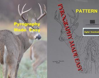 White Tailed Deer Pyrography Pattern Wood burning pattern digital download