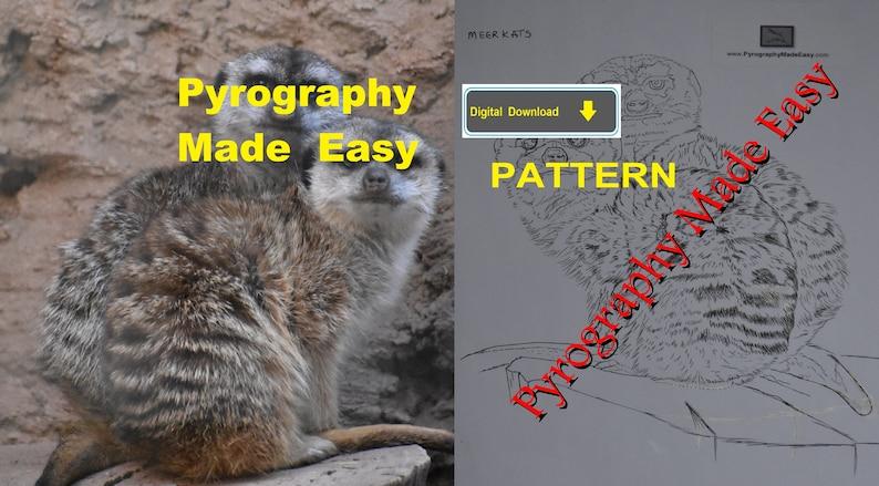Meerkat Pyrography Pattern Wood burning pattern digital image 0