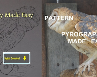 Barn Owl II Pyrography Pattern Wood burning pattern digital download
