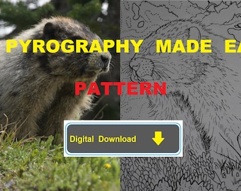 Hoary Marmot Pyrography Pattern Wood burning pattern digital download
