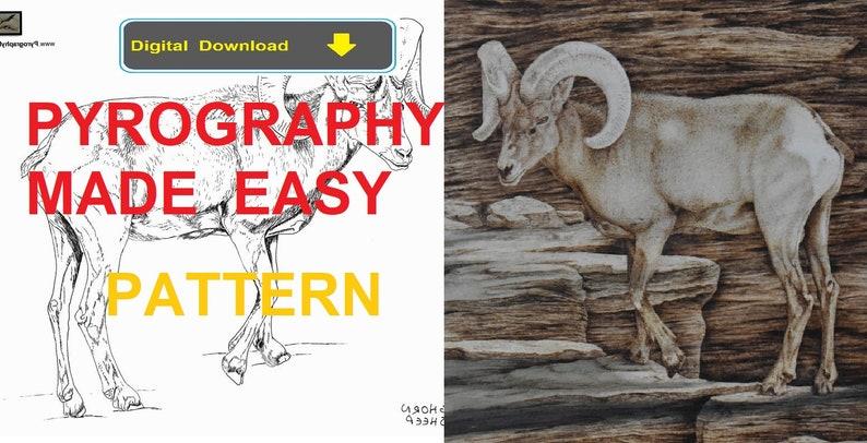 Bighorn Sheep Pyrography Pattern Wood burning pattern digital image 0