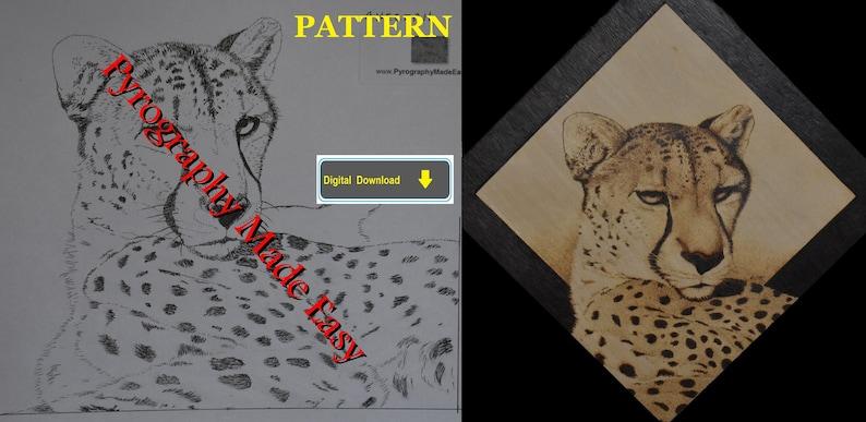 Cheetah Pyrography Pattern Wood burning pattern digital image 0