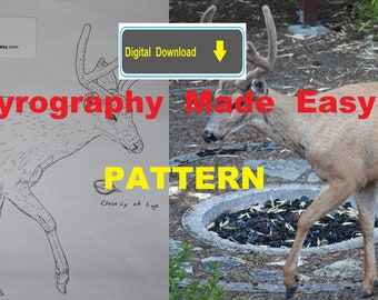 Black Tailed Deer buck Pyrography Pattern Wood burning pattern digital download