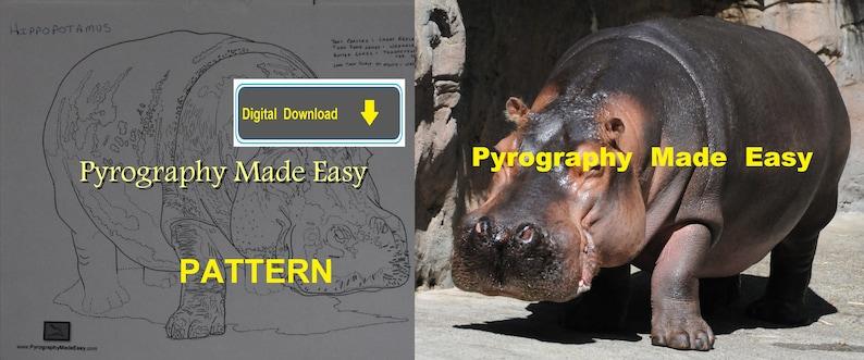 Hippopotamus Pyrography Pattern Wood burning pattern digital image 0