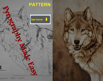 Mexican Grey Wolf Pyrography Pattern Wood burning pattern digital download