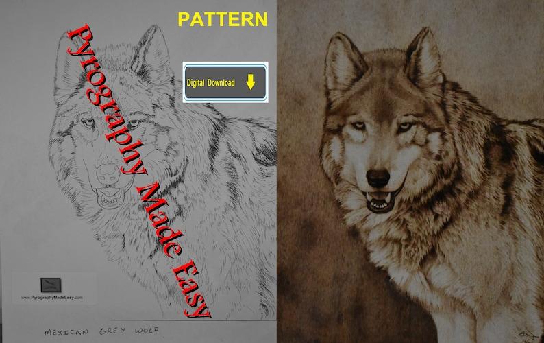 Mexican Grey Wolf Pyrography Pattern Wood burning pattern image 1