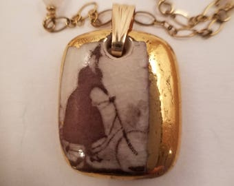 Porcelain pendant necklace. GOLD lustre. 14 kt GF chain/findings with rose quartz.Reversible art nouveau inspired images.