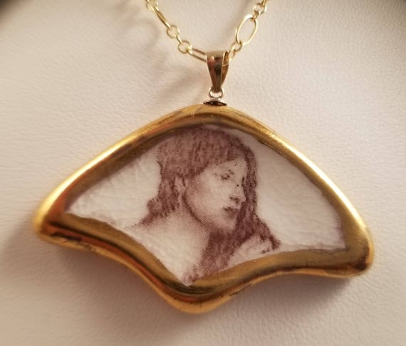 Romantic Porcelain Pendant With Gold Lustre And 14 Ft Gold Etsy