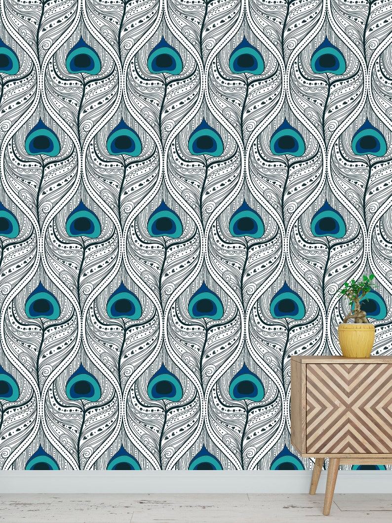 High quality repositionable removable self adhesive wallpaper/modern  peacock feather pattern