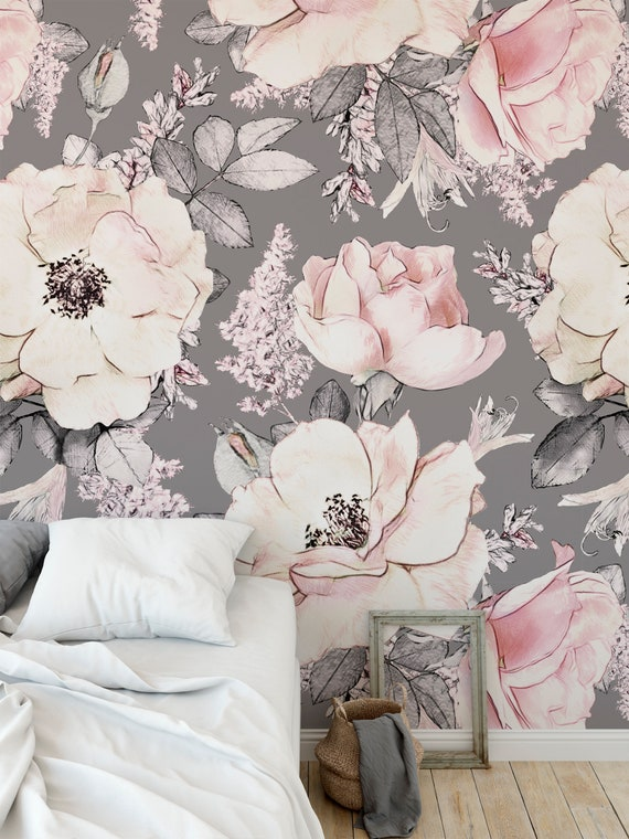 Removable Wallpaper Peel and Stick Wallpaper Self Adhesive Wallpaper Pink Flowers