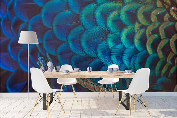 Removable Peel And Stick Wallpaper Modern Peacock Feathers Etsy