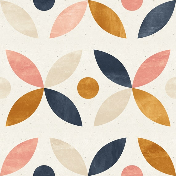 Removable Peel And Stick Wallpaper Gold Navy And Pink Modern Mod Wallpaper