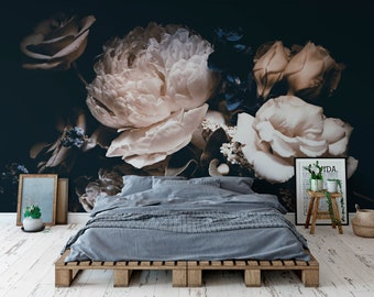High quality repositionable removable self adhesive wallpaper/ macro floral/flowers wall murals
