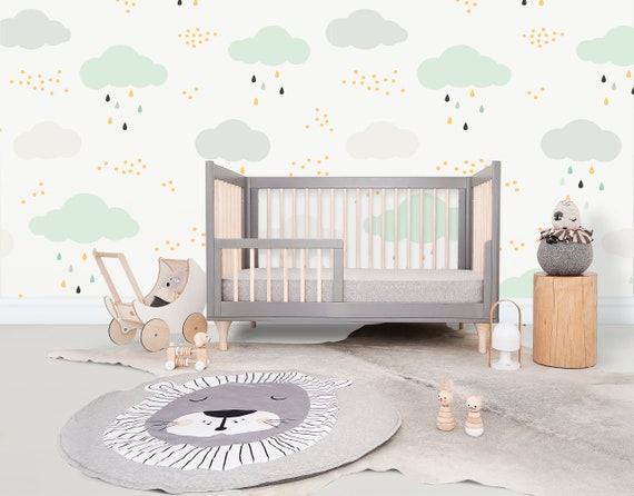 High quality repositionable self adhesive removable peel and stick  wallpaper/ Clouds wallpaper pattern for nursery and children's room