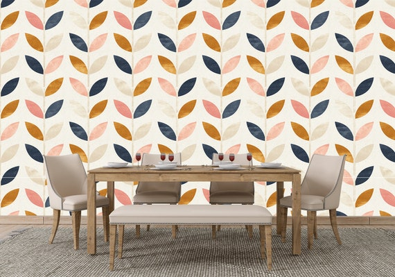 Removable Peel And Stick Wallpaper Modern Gold Blue And Pink Leaves Wallpaper