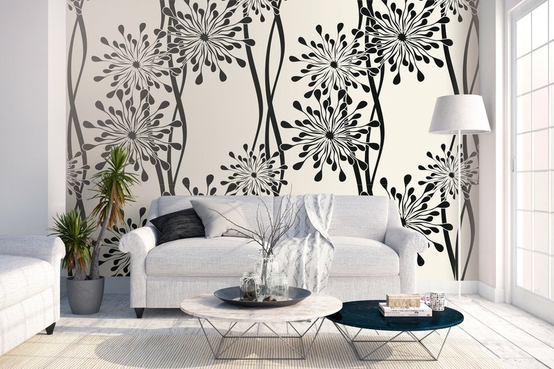 High quality repositionable removable self adhesive wallpaper/ abstract  modern flowers/ floral pattern