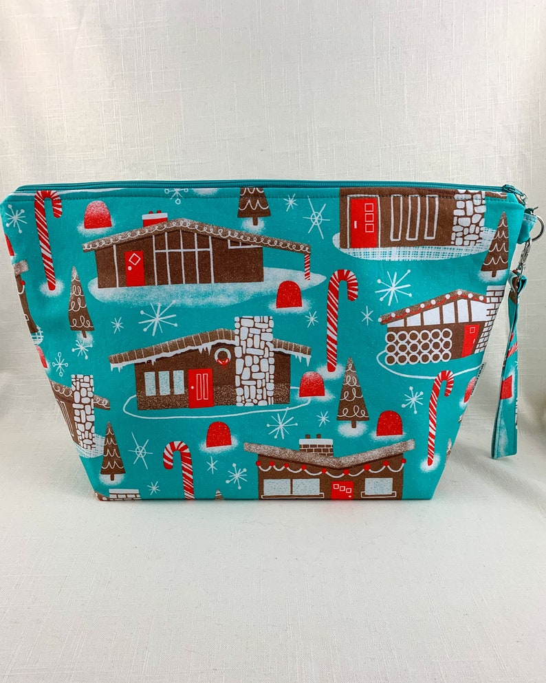 LARGE PROJECT BAG Mid Century Modern Gingerbread Houses Extra Large Zippered Sweater Weather-Sized Project Bag Zippered!