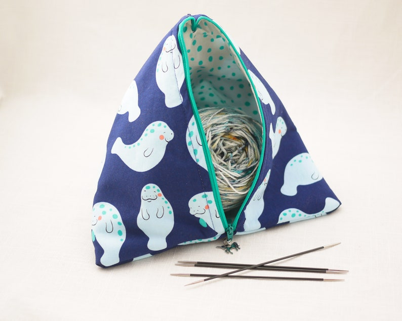 Classy Unicorns Zippered Sock-Sized Project Bag White and Gold