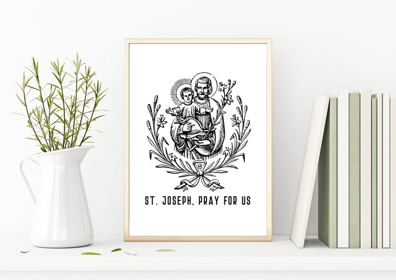graphic about Printable Prayer to St. Joseph known as St. Joseph Prayer Print Printable Catholic Wall Decor Fathers Working day Affirmation Reward