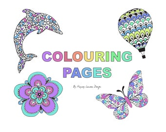 4 Colouring Pages - Digital Download