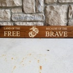 Land of the Free Because of the Brave wood sign with Military Logo/READY TO SHIP