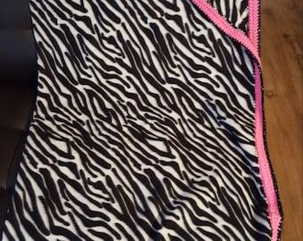 Zebra print Fleece Throw with Crochet Border
