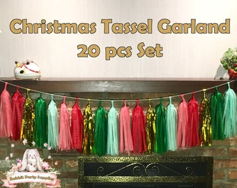 christmas tassel garland set red green christmas themed christmas party decorations christmas tassel garland tassel garland