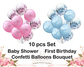 12 Confetti Balloons Pink Blue