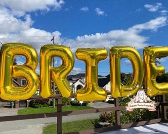 "14"" 34"" BRIDE Balloons, Rose Gold, Bride Banner, Wedding Decorations, Bridal Shower Balloons, Bachelorette Party Balloons"