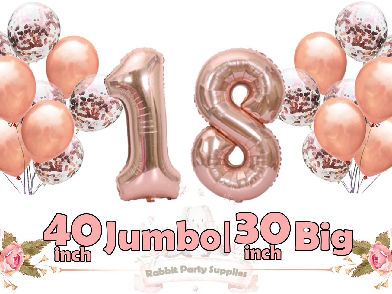 Number Balloons Rose Gold 40 Or 30 Eighteen