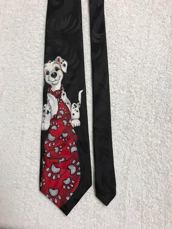 Disney 101 Dalmatians Tie Wearing Puppy Cartoon Vintage Novelty Tie Necktie