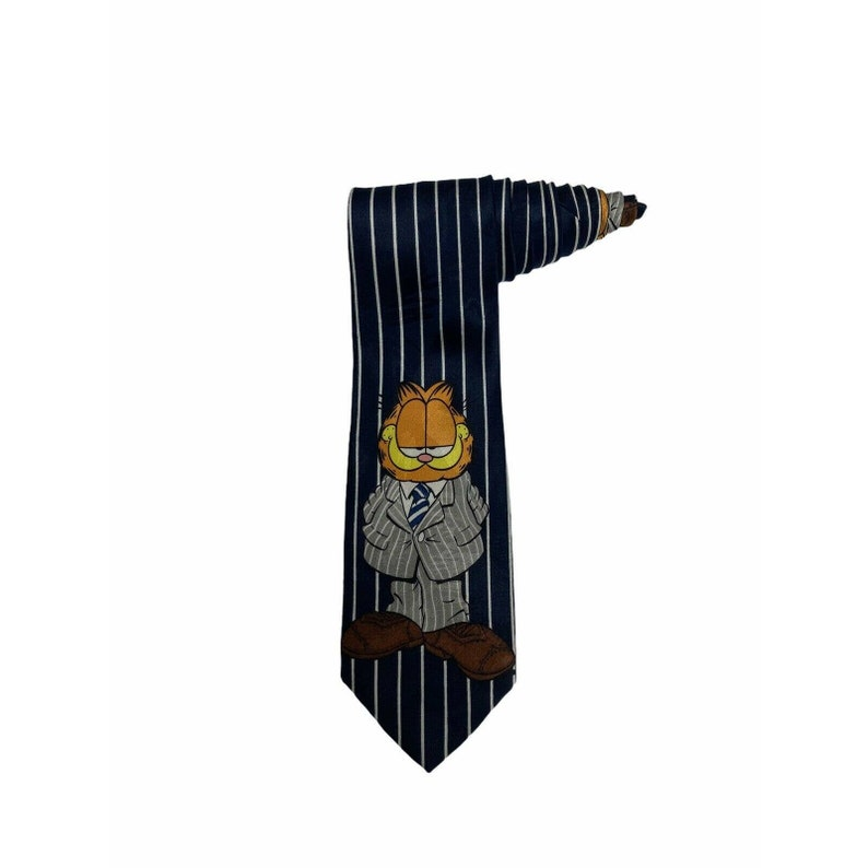 Paws Addiction Suit Wearing Garfield Cartoon Vintage Novelty Necktie Polyester