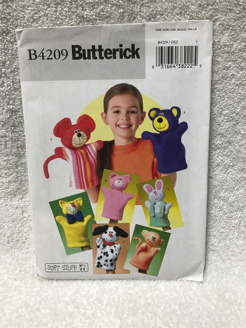 Butterick B4209 Dog Cat Pig Mouse Hand Puppets Sewing Pattern