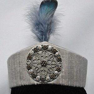 Russian Byzantine Also Roman Silver silk Persian style taj diadem headdress with silver medallion 14th15th16th c Italian Renaissance