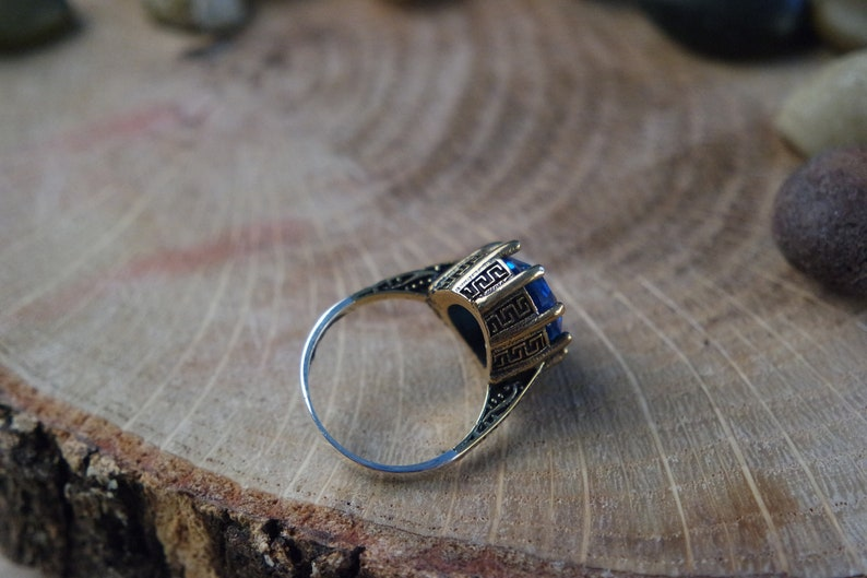 Turkish Handmade Silver 925k Sapphire Ottoman Style Ring Free Resize Fast Shipping