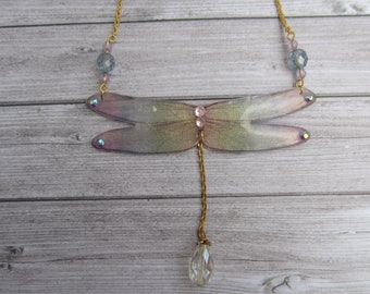 Blue, pink and yellow Dragonfly necklace sparkly, fairy wings.