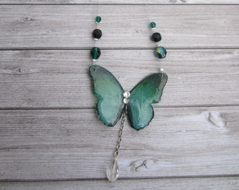 Shiny necklace magical green iridescent butterfly wings