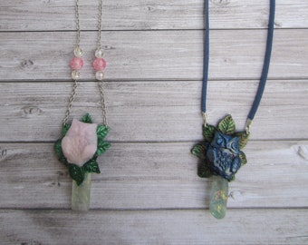enchanted forest Opal Crystal OWL necklace
