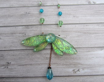 Fairy wings brilliant iridescent Green Butterfly Necklace resin