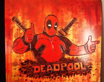 Deadpool Wade Wilson Ryan Reynolds X-men Marvel Comics Square Red Black Watercolor Paint Merc with a mouth Wood-burn Wall Art Home Decor