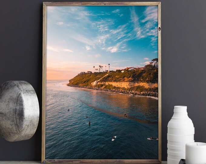 Featured listing image: Aerial Beach Photography Print - Encinitas Beach California Surfers Art Print - Drone Photography - Golden Hour Poster - Aerial Ocean Print
